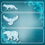 Logotipos de los animales del hielo en fondo congelado Fotografía de archivo libre de regalías