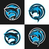 Logotipos de los deportes de los tiburones y de los delfínes Imagen de archivo