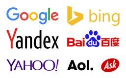 Logotipos de los motores de la búsqueda del web stock de ilustración