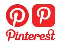 Logotipos de Pinterest impressos no Livro Branco ilustração royalty free