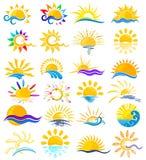 Logotipos de Sun com mar Imagens de Stock