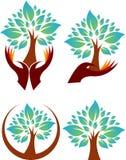 Logotipos del árbol de la mano de la colección ilustración del vector