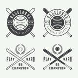 Logotipos del béisbol del vintage, emblemas, insignias y elementos del diseño Foto de archivo libre de regalías
