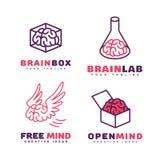 Logotipos del cerebro fijados Fotografía de archivo
