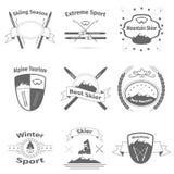 Logotipos del esquí y de la montaña Foto de archivo
