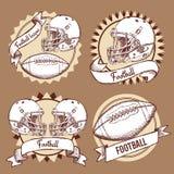 Logotipos del fútbol del bosquejo en estilo del vintage stock de ilustración