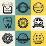 Logotipos del gimnasio de la aptitud y del deporte Fotografía de archivo