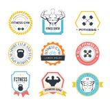 Logotipos del gimnasio de la aptitud y del deporte Foto de archivo libre de regalías