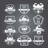 Logotipos del gimnasio del levantamiento de pesas y de la aptitud y emblemas en el estilo de t