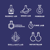 Logotipos del laboratorio fijados Imágenes de archivo libres de regalías