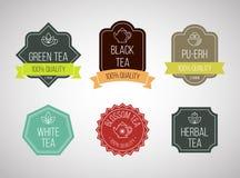 Logotipos del té fijados Colección de la plantilla del vector Imagen de archivo
