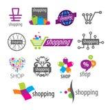 Logotipos del vector y descuentos de las compras ilustración del vector