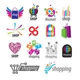 Logotipos del vector y descuentos de las compras stock de ilustración