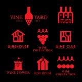 Logotipos del vino fijados Fotos de archivo libres de regalías
