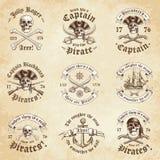 Logotipos del vintage del pirata stock de ilustración