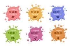 Logotipos del yogur de fruta fijados ilustración del vector