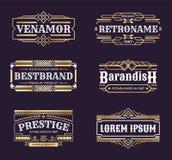 Logotipos do art deco Quadro geométrico do ornamento do moderno, linha beira antiga mínima do vintage, emblema luxuoso no estilo  ilustração royalty free