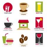 Logotipos do café e da barra ajustados ilustração stock