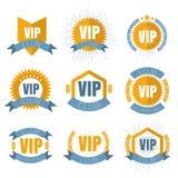 Logotipos do clube do VIP ajustados no estilo liso illustation do vetor Fotos de Stock Royalty Free