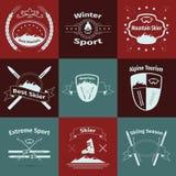 Logotipos do esqui e da montanha Fotos de Stock Royalty Free