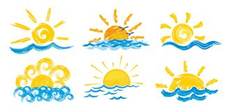 Logotipos do sol e do mar Imagem de Stock