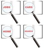 Logotipos do vidro do magnifier da busca ilustração do vetor
