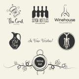 Logotipos do vinho e elementos do projeto ilustração royalty free