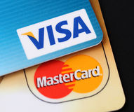 Logotipos do visto e do MasterCard Imagem de Stock Royalty Free