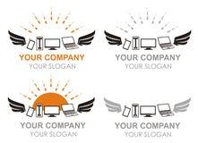 Logotipos dos computadores e dos dispositivos do voo no vetor Fotografia de Stock