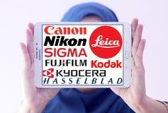 Logotipos dos fabricantes da câmera fotos de stock