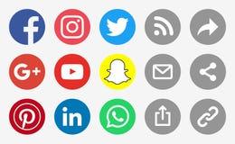 Logotipos dos meios sociais e ícones redondos da parte