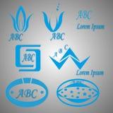 Logotipos e ícones azuis Fotos de Stock Royalty Free
