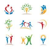 Logotipos e ícones felizes dos povos fotos de stock