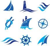 Logotipos e ícones náuticos ilustração stock