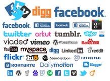 Logotipos e coleção sociais dos ícones Imagens de Stock Royalty Free