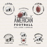 Logotipos e etiquetas dos crachás do futebol americano para alguns Imagens de Stock Royalty Free