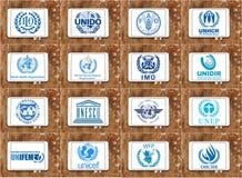 Logotipos e iconos de las agencias de Naciones Unidas Fotos de archivo libres de regalías