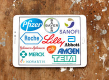 Logotipos e iconos de las compañías farmacéuticas Fotos de archivo libres de regalías