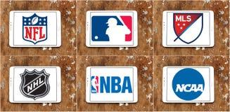 Logotipos e iconos de los deportes de los E.E.U.U. Imagen de archivo libre de regalías