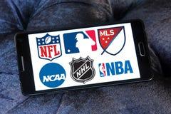Logotipos e iconos de los deportes de los E.E.U.U. Fotografía de archivo libre de regalías