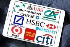 Logotipos globales de los bancos imagenes de archivo