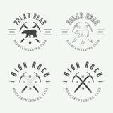 Logotipos, insignias, emblemas y diseño árticos del alpinismo del vintage Imagen de archivo libre de regalías
