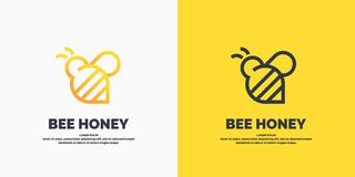Logotipos lineares modernos para apicultor As etiquetas nos produtos do apiário Etiqueta do vetor para o mel da abelha ilustração stock