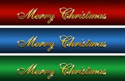 Logotipos lustrosos do ouro do Feliz Natal Fotografia de Stock