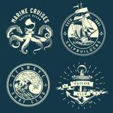Logotipos marinos y náuticos del vintage libre illustration