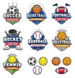 Logotipos misturados do esporte do vetor do vintage Fotos de Stock