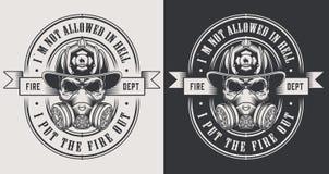 Logotipos monocromáticos de combate ao fogo do vintage ilustração royalty free