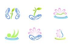 Logotipos naturais da exploração agrícola da beleza Fotos de Stock Royalty Free