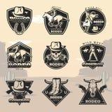 Logotipos negros del rodeo del vintage fijados Foto de archivo