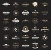 Logotipos o insignias retros del vintage fijados Vector Imagen de archivo libre de regalías